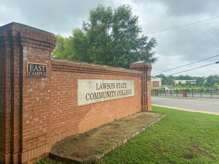 Brick sign with Lawson State Community College inscribed
