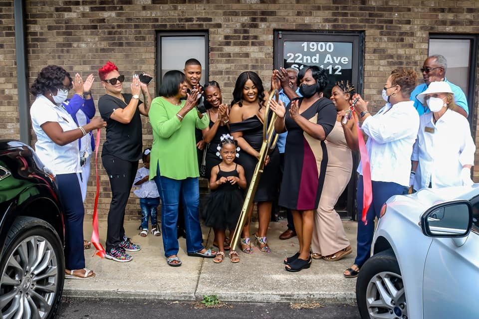 Check out this new opening. Grand opening of JL Beauty Bar— complete with the golden scissors.