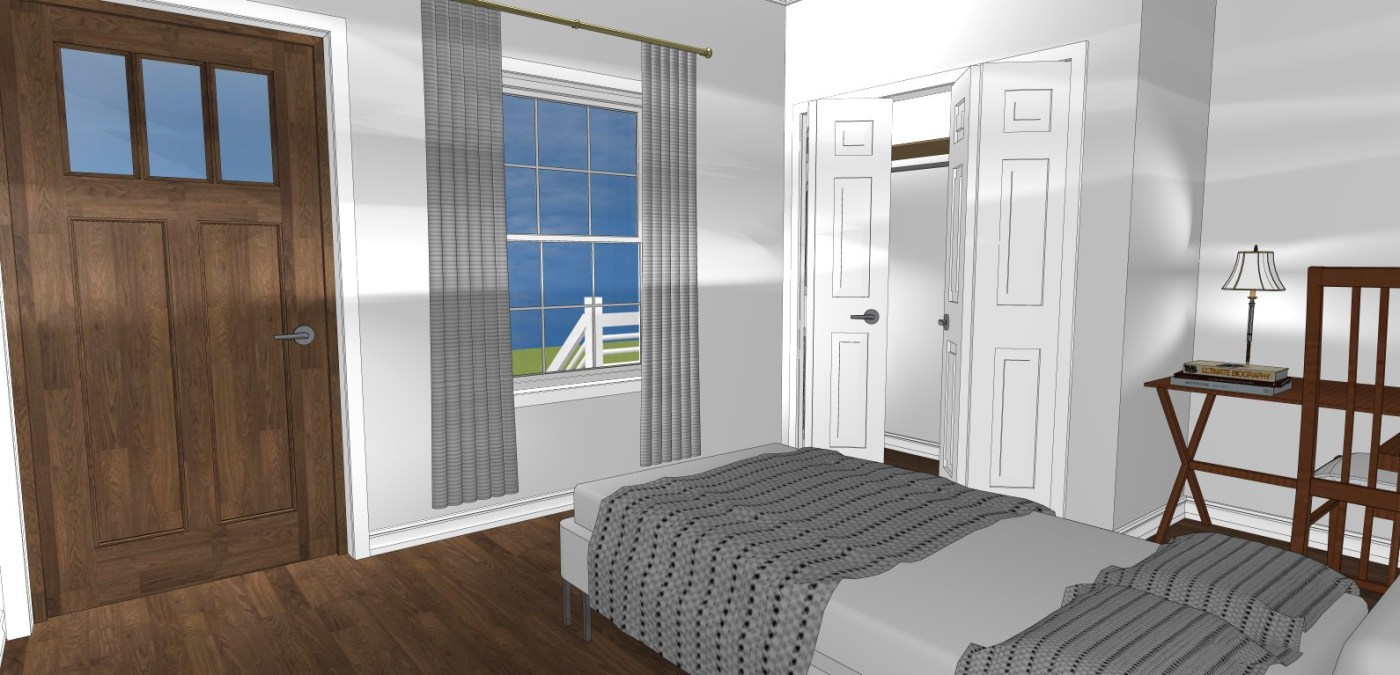 A rendering of a bedroom at Evergreen Twin Cottages. Photo via Heritage Homes & Land Acquisitions