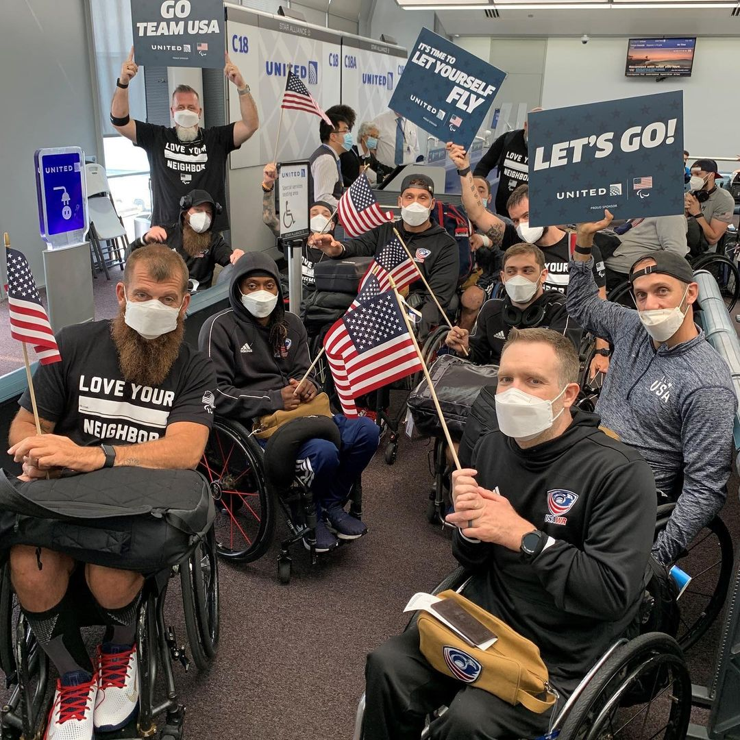 The USA Wheelchair Rugby team getting ready to board.