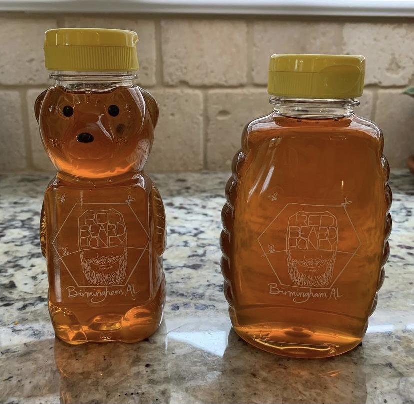 red beard honey bottles