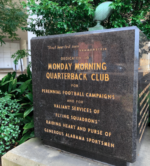 Monday Morning Quarterback Club's sign out front of Children's of Alabama.