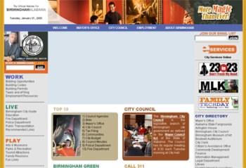 Screenshot of new City of Birmingham website