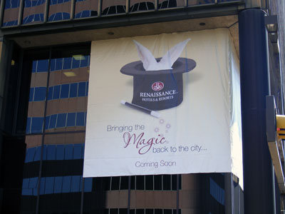 One of two banners hanging on a downtown Birmingham, AL skyscraper that formerly served as headquarters for Regions Bank. It is slated to be transformed into the second Marriott Renaissance Hotel in the metropolitan area.