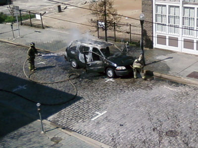 Van fire under control on Morris Avenue Birmingham, AL - Trav Bryant
