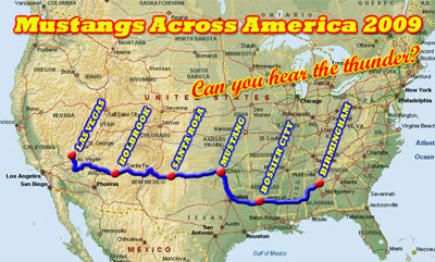 Map of trip from Mustangs across America