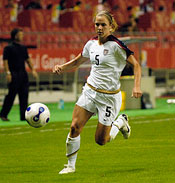 U.S. forward Lindsay Tarpley (5). The United States (USA) defeated Norway (NOR) 4-1 during the third place match of the Women's World Cup China 2007 at Shanghai Hongkou Football Stadium in Shanghai, China, on September 30, 2007.