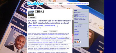 Screenshot of CBS 42 Twitter profile