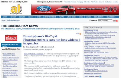 Screenshot of Birmingham News test page