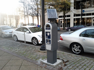 Pay and display meter on Park Place in downtown Birmingham.
