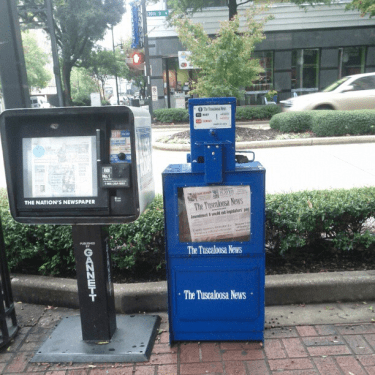 Tuscaloosa News boxes appearing in Birmingham
