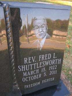 close-up of Shuttlesworth headstone.