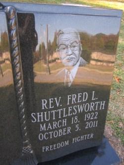 close-up of Shuttlesworth headstone.