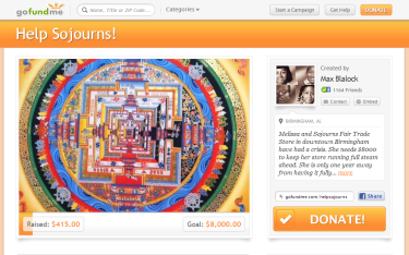 Sojourns GoFund screenshot