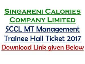 SCCL Management Trainee Hall Ticket Download