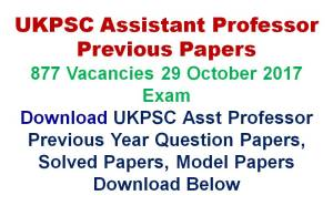 UKPSC Assistant Professor Previous Papers
