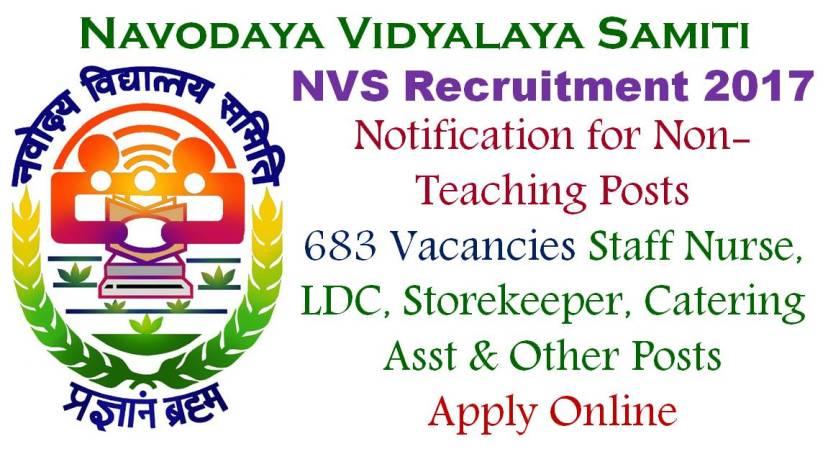 NVS Non Teaching Recruitment 2017