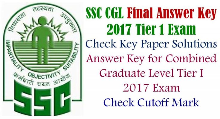 Tier 1 SSC CGL Final Answer Key PAPER