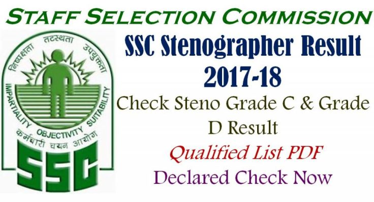 SSC Stenographer Result 2017 for Grade C & D Qualified List
