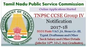 TNPSC CCSE Group 4 Recruitment Notification