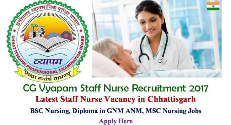 CG Vyapam Staff Nurse recruitment 2017