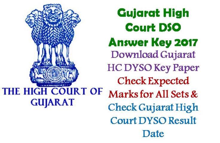 Gujarat HC DYSO Answer Key paper 2017