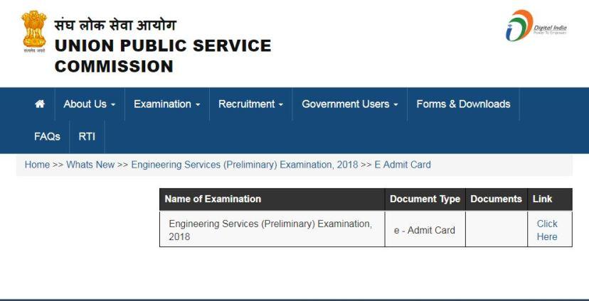 UPSC ES IES Prelims Admit Card 2018
