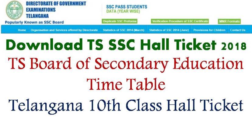 Telangana 10th class hall ticket 2018, ts ssc 2018 hall ticket