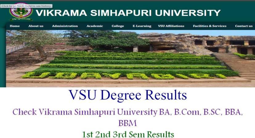 Vikrama Simhapuri University Degree Results, VSU UG Results, VSU Sem Results, VSU 1st 2nd 3rd year results