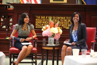 New York City Bar Association, June 8, 2015: Ritu Bhasin discusses sponsorship and retention with Jeanine Conley at the NYC Bar Association's inaugural Diversity & Inclusion Forum – New York, NY