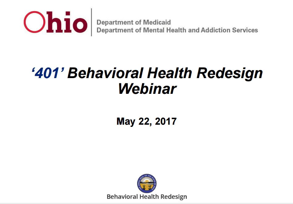 401 Ohio Behavioral Health Redesign Webinar ⋆ Behavioral