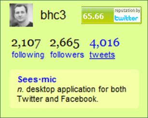 Twitter profile reputation score