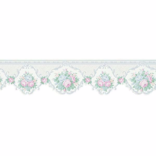 white cameo floral scroll