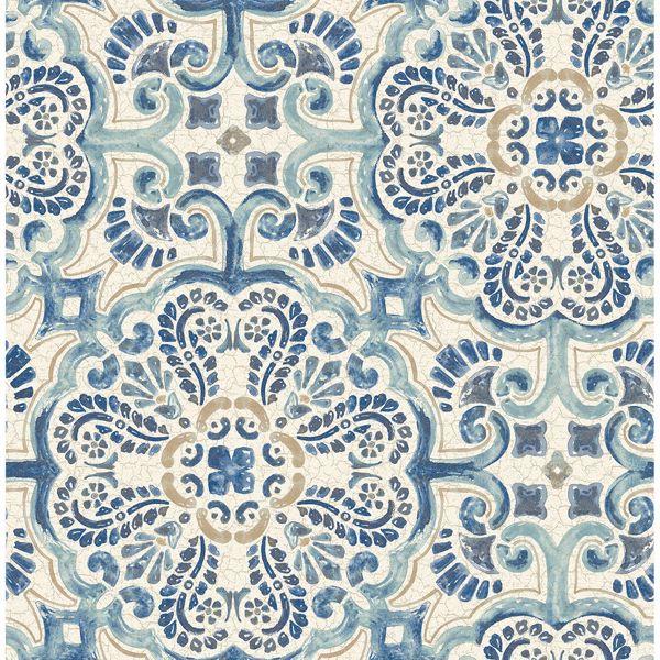 florentine blue faux tile wallpaper