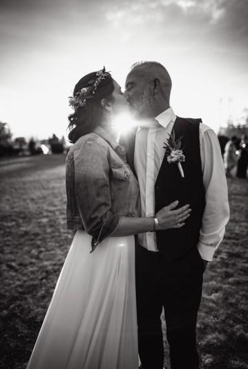 Photo de mariage couché de soleil