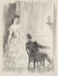 Lot 54, Norman Lindsay, The Singer, est. $800-1,200. Perfect Pitch in Pencil