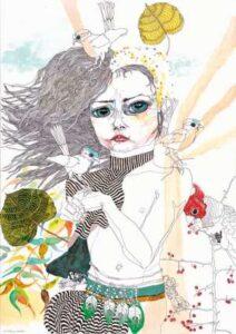 Lot 26 - Del Kathryn Barton, Girl #5, 2004, est. $50,000-70,000. Go Girl!