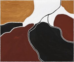 Lot 85 - Freddie Timms, Corcodile Hole (Rugoon), 1998, 100.5 x 120.5 cm, est. $4,000-6,000. Watch out for Crocs