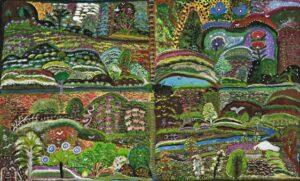 Lot 142 - Gertie Huddleston, Dusk at Ngukurr, 1997, 98 x 155.5 cm, est. $3,000-5,000. Go Gertie