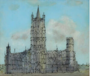 Lot 19 - Sidney Nolan, Ely Cathedral, 1950, est. $3,000-5,000. Glass with class