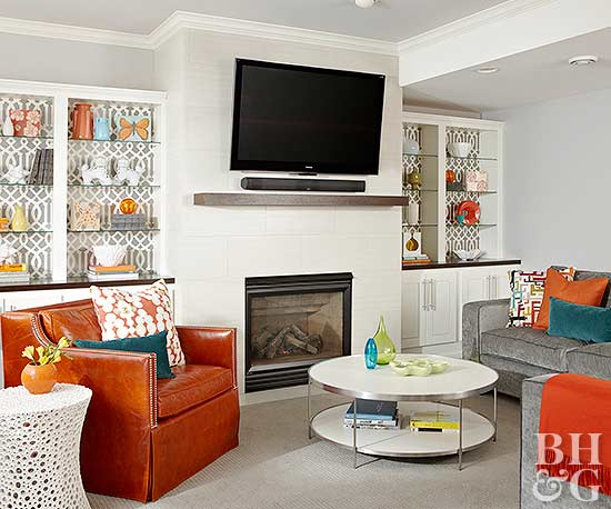 living room tv mounting height colour schemes 2018 tvs over fireplaces | better homes & gardens