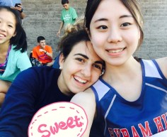 Seoyeong and Augustina at cross county meet (Image courtesy of Seoyeong).