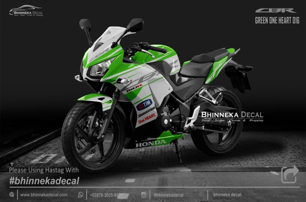 DECAL STICKER CBR K45 DESAIN GREEN ONE HEART-003