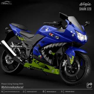 DECAL STICKER NINJA KARBU DESAIN BLUE SHARK-010