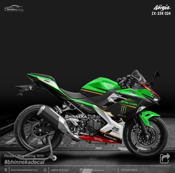 DECAL STICKER NINJA FI ALL NEW DESAIN ZX-250R GREEN-017