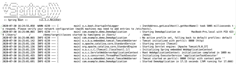 Spring boot output