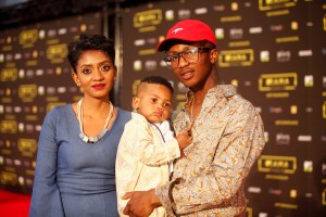 The artist Mtee (R) and his wife at the red carpet during the MAMA 2016, in Johannesburg, South Africa on October 22nd, 2016