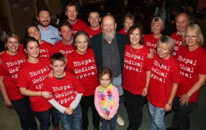 Auction volunteers and helpers, with Micahel Eavis (centre) and to his right, event organiser and BMA supporter Fiona Case