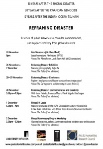 Events held in Leeds as part of the Reframing Disaster project