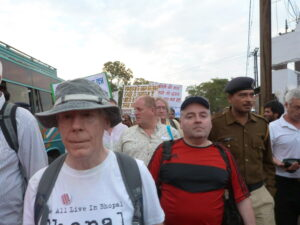 Scottish TUC delegates march with survivors of the Bhopal Disaster at the 30th anniversary commemorative events in December 2014